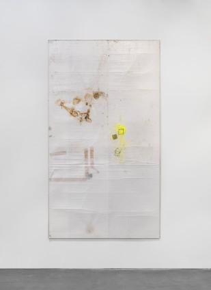 Ian Kiaer  Black tulip, offset, stain, 2012  bubble, tape, cardboard, aluminium, coffee and tea stains, glitter  269 x 150 x 1 cm 105 7/8 x 59 1/8 x 3/8 ins