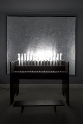 Thomas Zipp  ANXIETY CHAPEL, 2012  Aluminium on white painted canvas (stiletto heels), table and electrical candles  Painting: 200 x 240 cm, 78 3/4 x 94 1/2 ins Sculpture: 127 x 44 x 112 cm, 50 x 17 2/8 x 44 1/8 ins