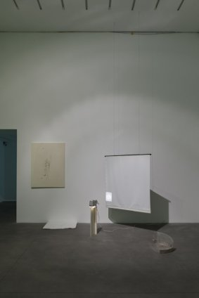 Ian Kiaer  Black tulip, glasshouse, 2012  pencil, acrylic, tape, canvas, taffeta, lighting gel, perspex, polystyrene, cardboard, plastic. copper wire, projection screen, slide projector, 35mm slide  drawing: 121.9 x 91.4 cm / 48 x 36 ins projector screen: 137.2 x 129.5 cm / 54 x 51 ins polystyrene: 61 x 80 cm / 24 x 31 1/2 ins model: 29.8 x 54.6 x 30.5 cm / 11 3/4 x 21 1/2 x 12 ins
