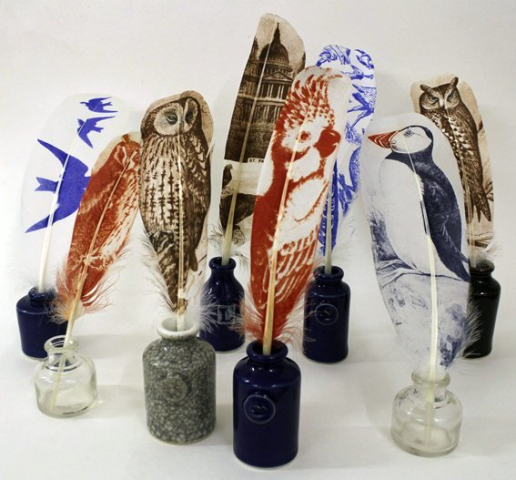 <span class=&#34;title_and_year&#34;><em>Quills and Ink wells</em>, 2013<span class=&#34;title_and_year_comma&#34;>, </span></span><span class=&#34;medium&#34;>printed feathers and handmade ink wells<span class=&#34;medium_comma&#34;>, </span></span><span class=&#34;edition_details&#34;>edition of 8</span>