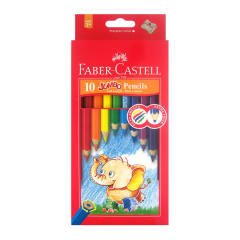 Faber-Castell Jumbo Colour Pencils + Sharpener 10 assorted