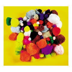 Educational Colours POM POMS x 50 STANDARD assorted sizes