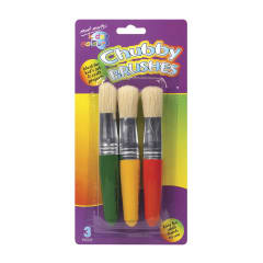 M.M. Kids Colour Chubby Brushes 3pce