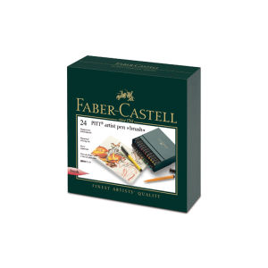 Faber-Castell Pitt Artist Pen Folio case 24 assorted