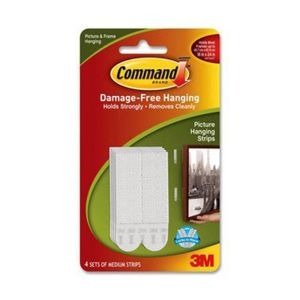 Command 3M 17201-4PK-ANZ Picture Hanging Strip Med