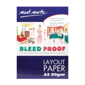 Mont Marte Bleedproof Layout Pad 80gsm 50 sheet A3