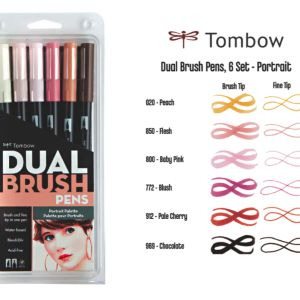 Tombow Dual Brush Pen Set of 6 Portrait