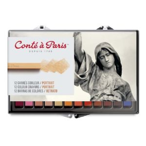 Conte Crayon Set - 12 Assorted Portrait Colour