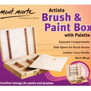 Mont Marte Large Birch Brush/Paint Box with palette