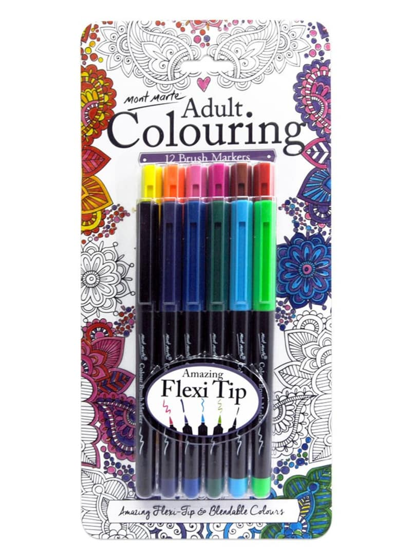 Mont Marte Adult Colouring Brush Markers 12pce