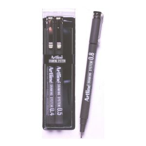 ARTLINE DRAWING SYSTEM PEN 4-5-8 BLACK wallet of 3