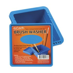 Mont Marte Brushwasher Twin Compartment Sq. plastic