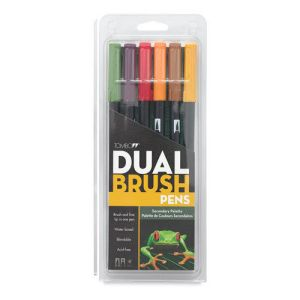 Tombow Dual Brush Pen Set of 6 Secondary