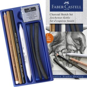 Faber-Castell Charcoal Sketch Set with Eraser & Stump