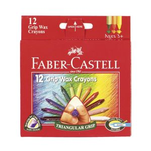 Faber-Castell Grip Triangular Wax Crayons 12 assorted