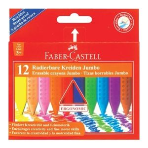 Faber-Castell Grip Erasable Jumbo Crayon 12 assorted