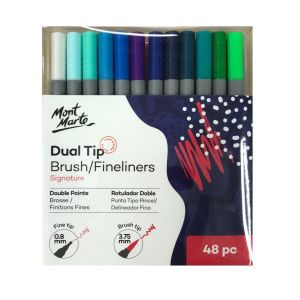 Mont Marte Dual Tip Brush Fineliners 48pce