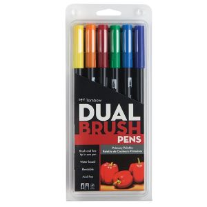 Tombow Dual Brush Pen Set of 6 Primary