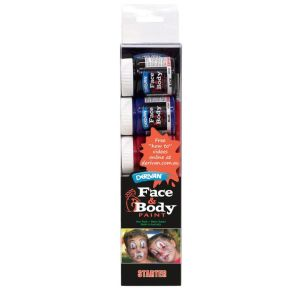 DERIVAN FACE PAINT STARTER SET + sponge + brushes