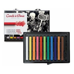 Conte Crayon Set - 12 Assorted Colour
