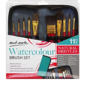 Mont Marte Signature Brush Set Wallet 11pc - Watercolour