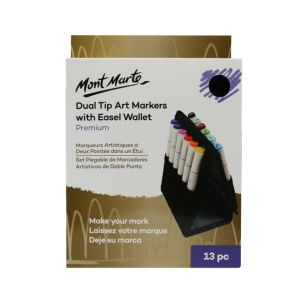 Mont Marte Dual Tip Art Markers with Wallet 13pce