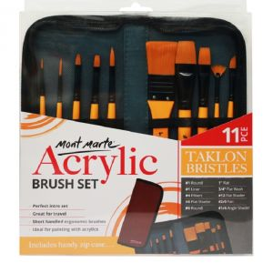 Mont Marte Signature Brush Set in Wallet 11pc - Acrylic