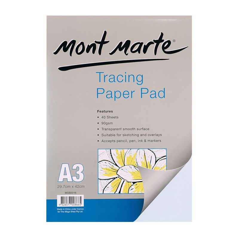 Mont Marte Tracing Paper Pad 60gsm 40 sheet A3