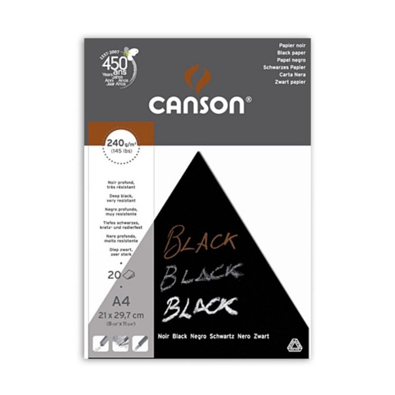 Canson Black Paper Pad A4 20 sheets