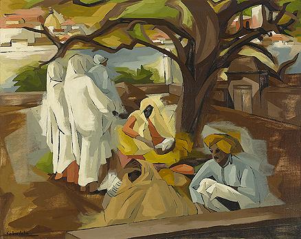 Jehangir Sabavala, The Bundi Courtyard, oil on canvas
