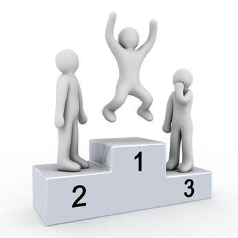 pedestal of the winner and people on white background