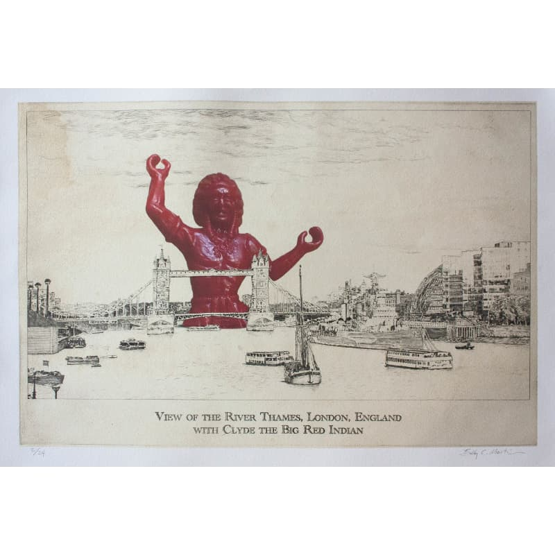 View of the River Thames, London, England, with Clyde the Big Red Indian