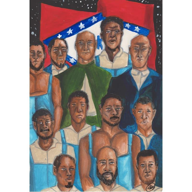 """Book Illustration for """"Scipio Africanus Jones"""": Prisoners Arkansas Flag"""