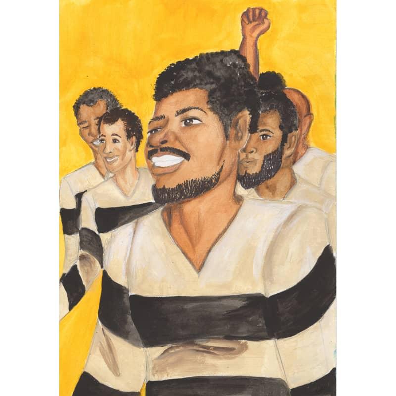 """Book Illustration for """"Scipio Africanus Jones"""": Prisoners Celebrate"""
