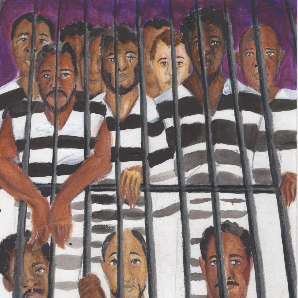 """Book Illustration for """"Scipio Africanus Jones"""": Prisoners in Jail"""