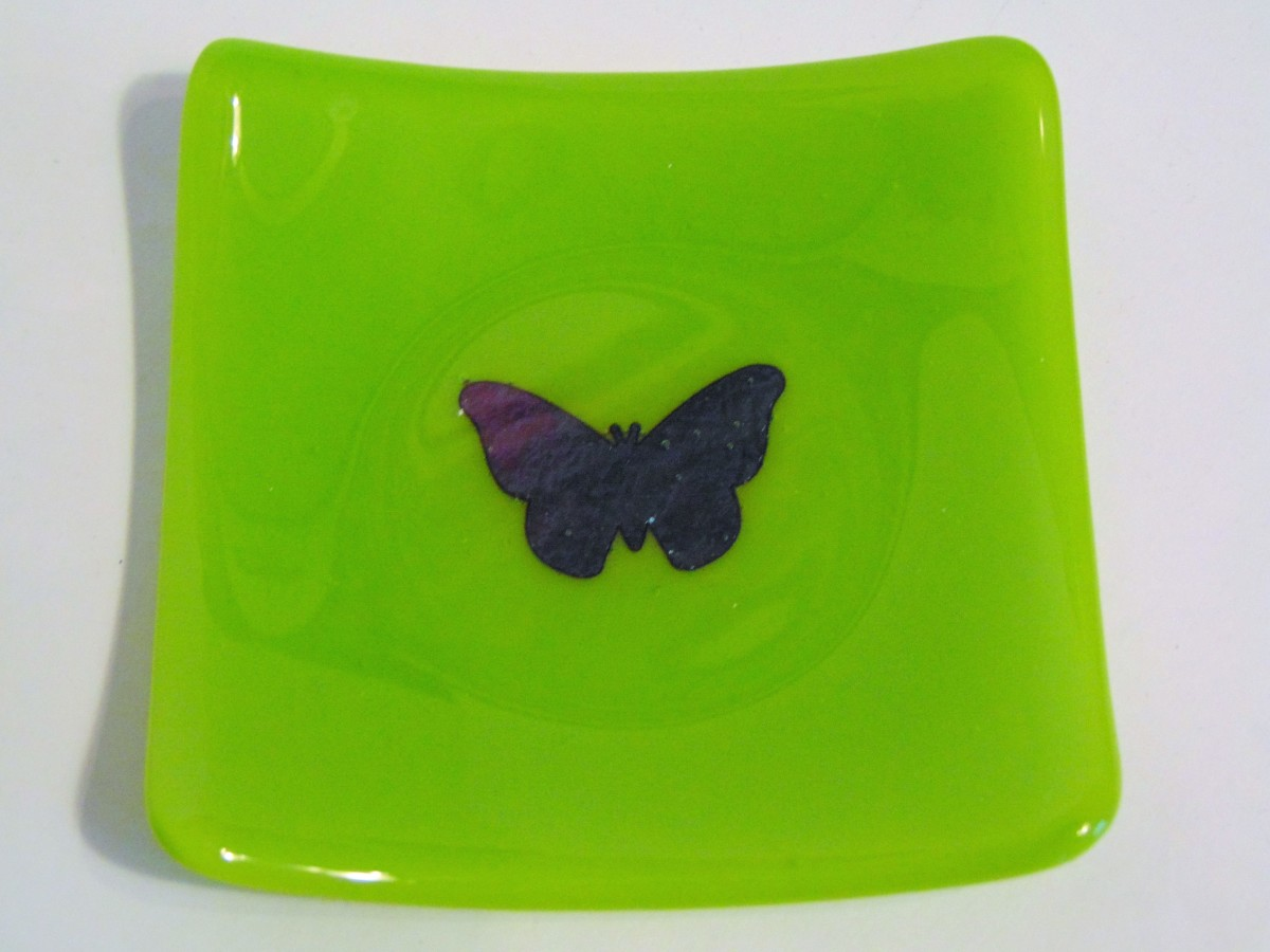 Small sushi with copper butterfly-Spring green