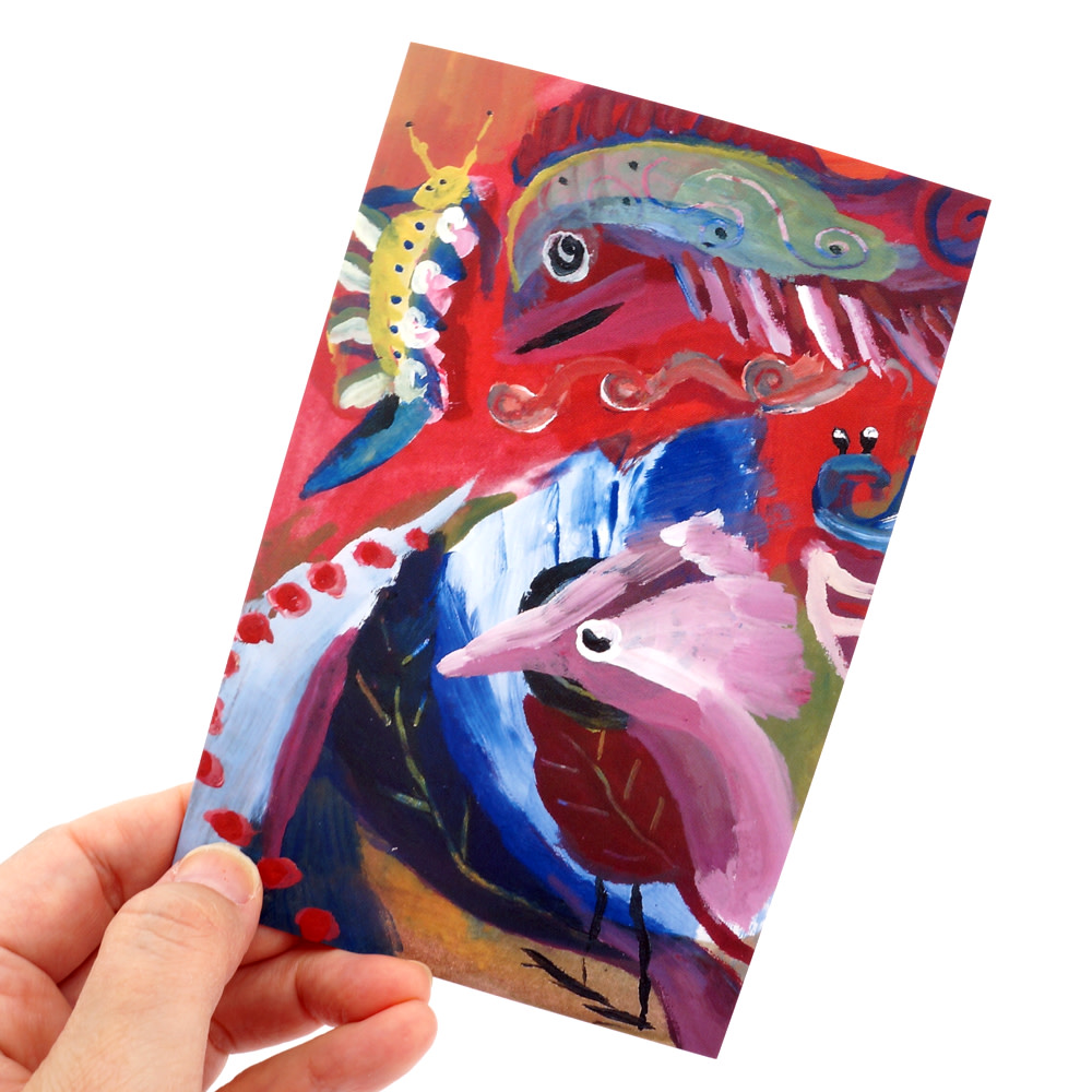 Colorful Bird Fish Caterpillar Artwork Blank Note | Artwork Archive