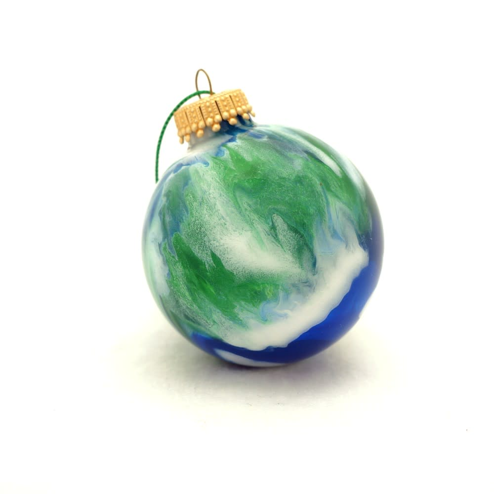 Handmade glass christmas ornaments - Handmade Glass Earth Christmas Ball Ornament Painted Inside Ooak Round Bulb