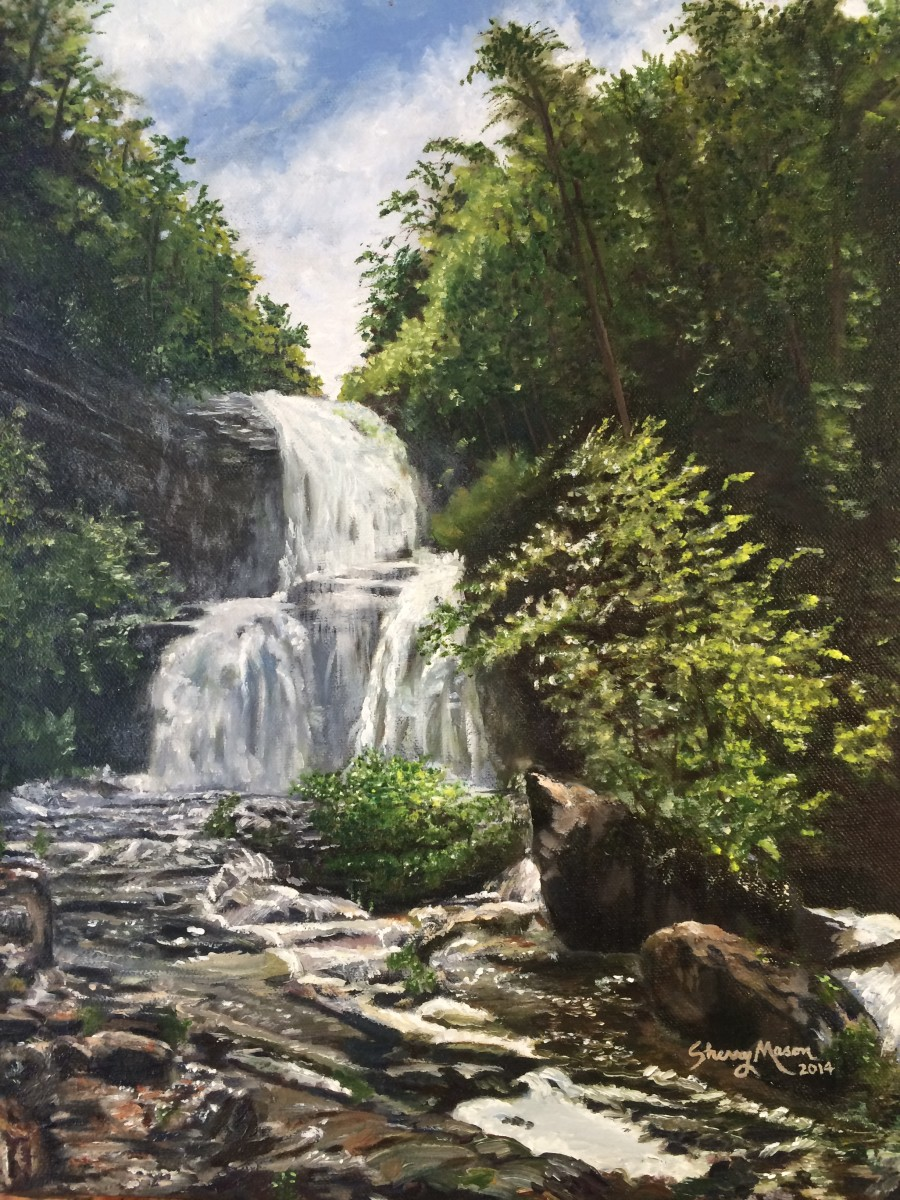 Rough Run Falls - Opened Dam, 16 x 12 original oil on cotton, © 2014 Sherry Mason
