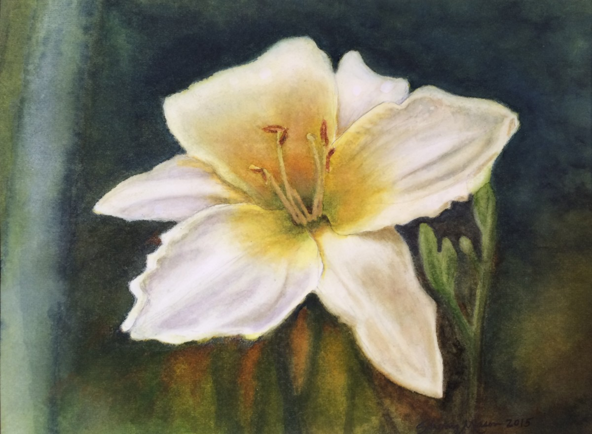 White Daylily in Repose, 8 x 10 original watercolor, © 2015 Sherry Mason