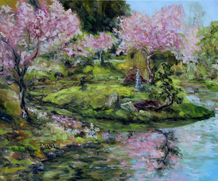 cherry blossoms mayne island japanese garden - Japanese Garden Cherry Blossom Paintings