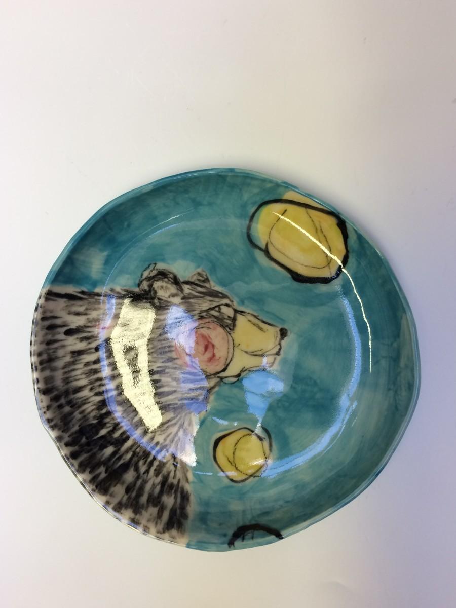 Porcelain Animal Plate - bear