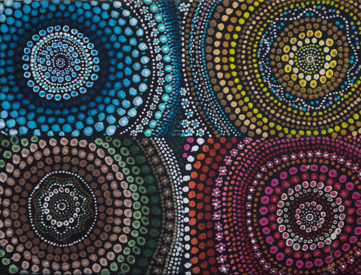Four Elements Art : Dotted four elements by rochelle fjeldstrom artwork archive