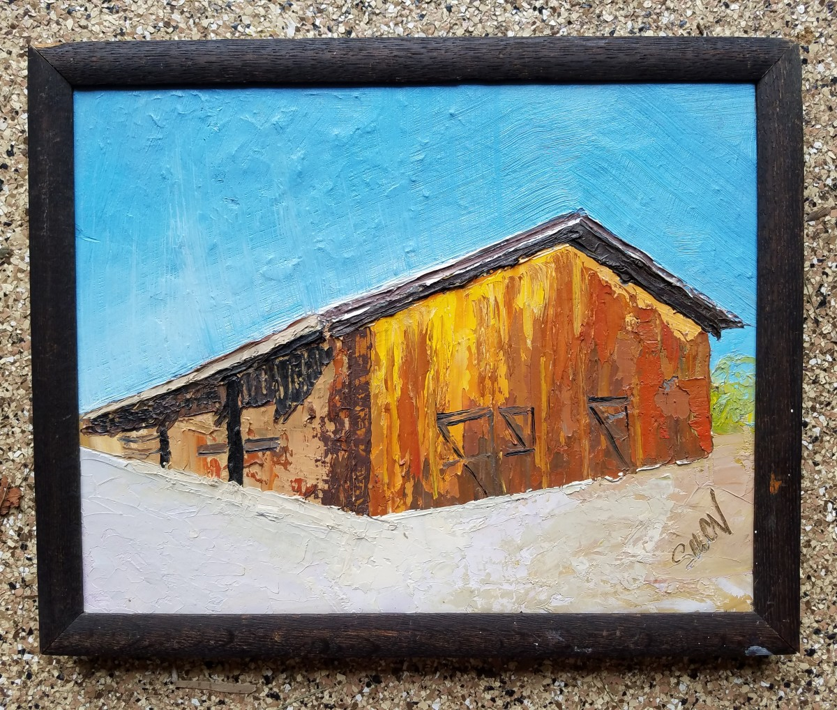 Arboretum Barn; Orange Barn Blue Sky