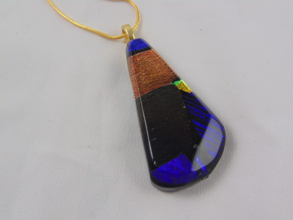 Necklace-Amber, Purple Dichroic