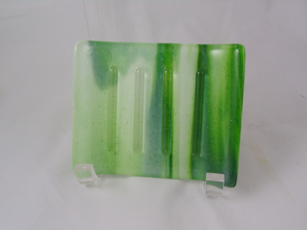 Soap dish-Adventurine green & white streaky