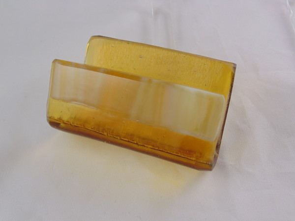 Business Card Holder-Amber & Amber Streaky