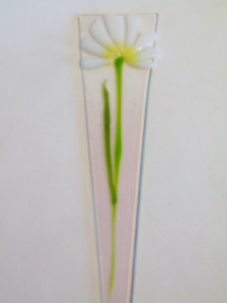 Plant Stake-White with Yellow Center