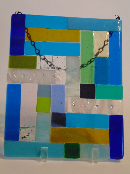 Garden Hanger-Blue/Green/White Abstract