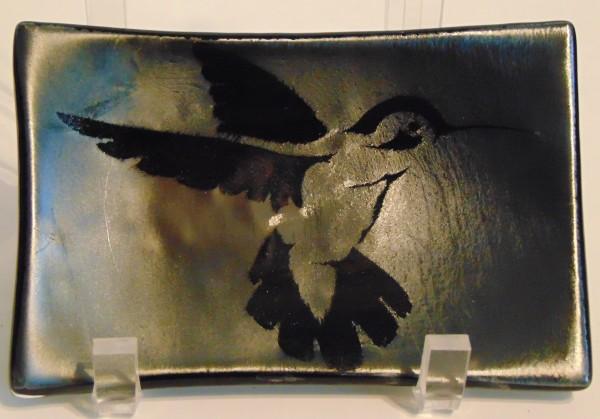Soap Dish/Spoon Rest-Hummingbird on Silver Irid